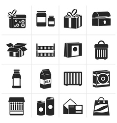 Silhouette different kind of package icons vector image