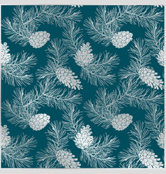 Silver floral pattern with pine cones and branches vector