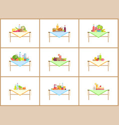 still life compositions for photo with food set vector image