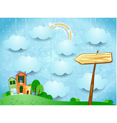surreal landscape with little town and arrow sign vector image