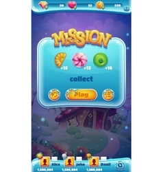 Sweet world mobile GUI mission collect vector image