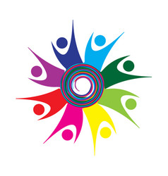 Swirly excited team of people icon vector