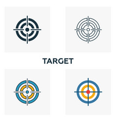 Target icon set four elements in diferent styles vector