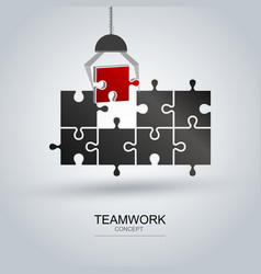 teamwork concept of jigsaw puzzle vector image