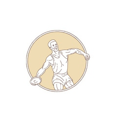 Track and field discus thrower circle mono line vector