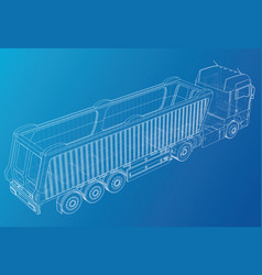 Truck tipper trailer mock-up for vector
