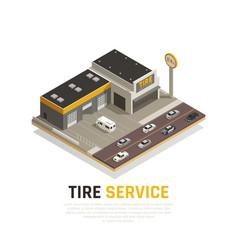 Tyre repair centre background vector
