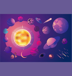 Universe with cartoon planets set space vector