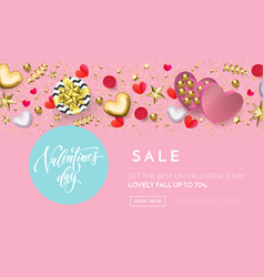 valentines day sale web banner background pink vector image