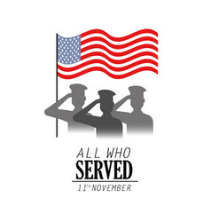 Veterans soldier celebration day with flag vector