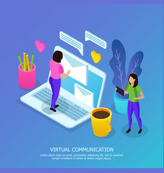 virtual communication isometric vector image