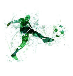 Watercolor silhouette of a football player vector