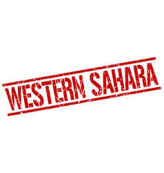 Western sahara red square stamp vector