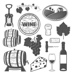 Wine Monochrome Objects Set vector