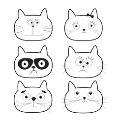 Cute black contour cat head set Funny cartoon vector image vector image