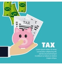 Piggy and document icon Tax and Financial item vector image vector image