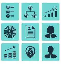 Set of 9 hr icons includes job applicants coins vector