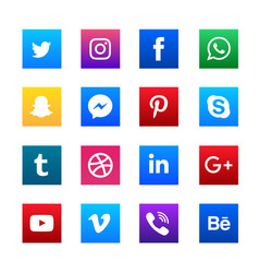 Social media square icons set vector