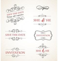 Vintage wedding invitations set vector image