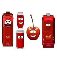 Cartoon red sweet cherry juice and fruit vector image vector image