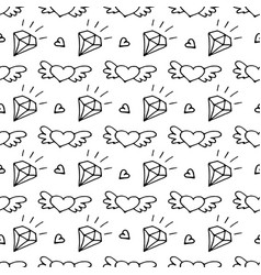 Seamless pattern with valentine hearts and vector