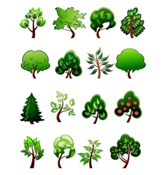 Set of cartoon green plants and trees vector image