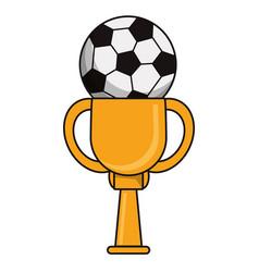 trophy soccer sport golden image vector image