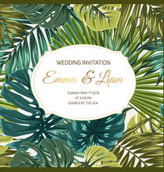 wedding invitation tropical greenery golden text vector image vector image