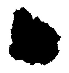 black silhouette country borders map of uruguay vector image