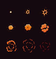 cartoon explosion boom explode effect animation vector image
