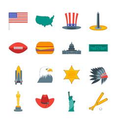 cartoon symbol of america color icons set vector image vector image