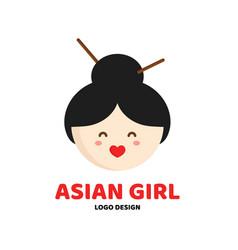 cute beauty asian girl face logo template vector image