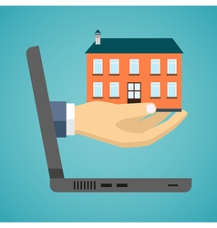 Hand of a businessman is holding a house model vector image vector image