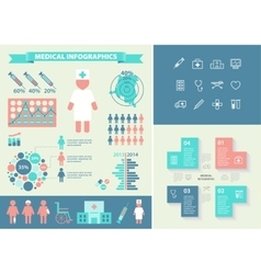 Medical infographic set with icons chart vector image vector image