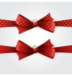 Red polka dot bow and ribbon vector image