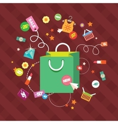 Set of flat design concept icons for shopping vector image vector image