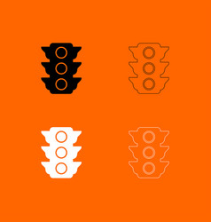 traffic light black and white set icon vector image