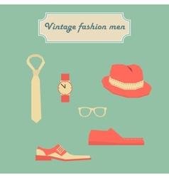 Vintage fashion men elements set vector