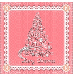 white lace christmas tree on seamless background vector image