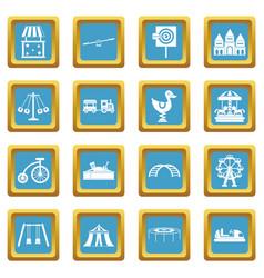 amusement park icons azure vector image