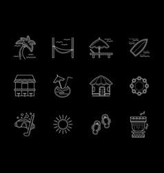 hawaiian flat white line icons set vector image vector image