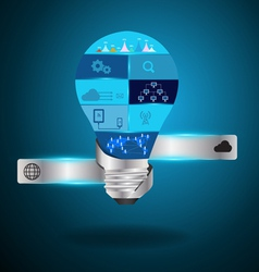 Light bulb idea with modern technology vector image vector image
