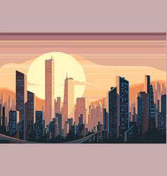sunrise landscape in city vector image