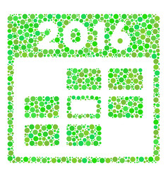 2016 calendar day collage icon of circles vector
