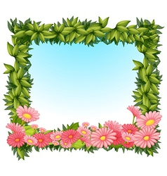 A framed leaves with pink flowers vector image