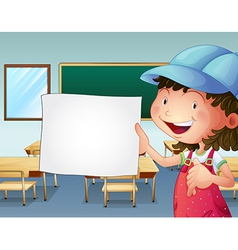 A student holding an empty piece of paper vector image