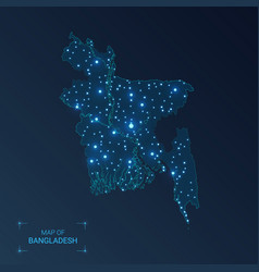 Bangladesh map with cities luminous dots - neon vector