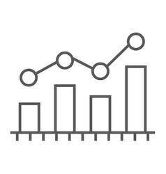 bar chart analytics thin line icon business and vector image