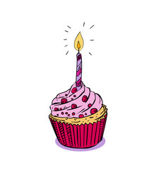Birthday muffin cake with candle drawing vector