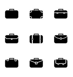 Black briefcase icon set vector